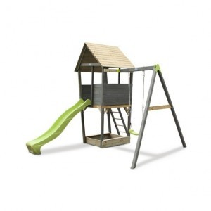 Exit Aksent Wooden Climbing Frame with 1-seat Swing - Gray