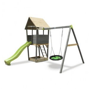 Exit Aksent Wooden Climbing Frame with Nest Swing - Gray