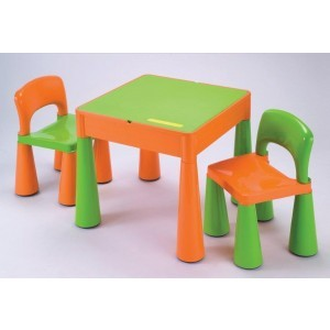 5 in 1 Multipurpose Activity Table & 2 Chairs – Orange & Green - Liberty House Toys (899G)