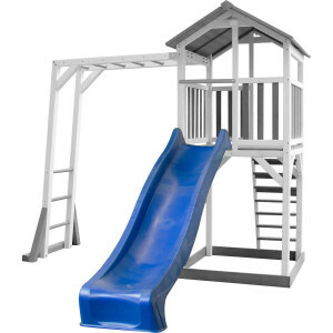 AXI Beach Tower Climbing frame with Gray / white - Blue Slide
