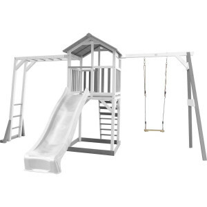 AXI Beach Tower Climbing Frame and Single Swing Gray / white - White Slide