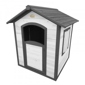 Wooden playhouse Sunny Lodge Britt gray / white with shutters - Playhouse wood - AXI (A020.001.01)