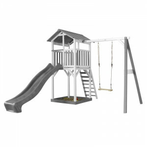 AXI Beach Tower Play Tower with Single Swing Gray / White - Gray Slide
