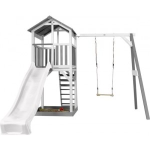 Axi Beach Tower Play Tower With Single Swing Gray / White - White Slide