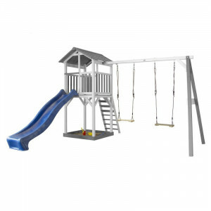AXI Beach Tower Play Tower with Double Swing Gray / White - Blue Slide