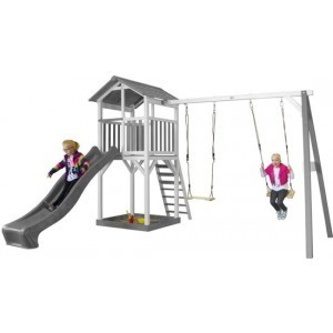 Axi Beach Tower Play Tower With Double Swing Gray / White - Gray Slide