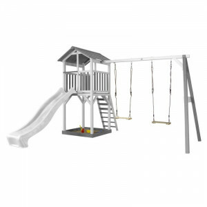 AXI Beach Tower Play Tower with Double Swing Gray / White - White Slide