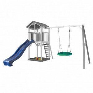 AXI Beach Tower Play Tower with Summer Nest Swing Gray / White - Blue Slide