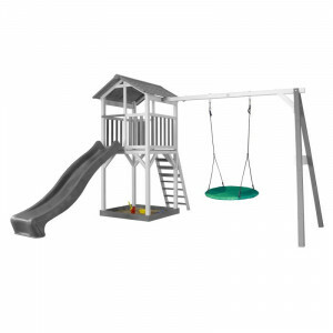 AXI Beach Tower Play Tower with Summer Nest Swing Gray / White - Gray Slide