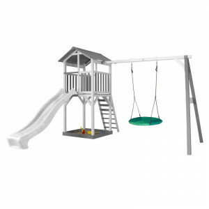 AXI Beach Tower Play Tower with Summer Nest Swing Gray / White - White Slide