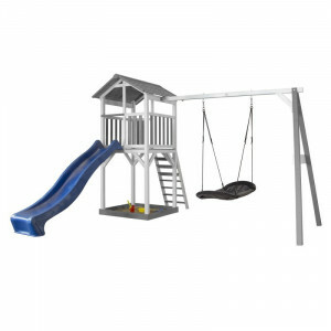 AXI Beach Tower Play Tower with Roxy Nest Swing Gray / White - Blue Slide