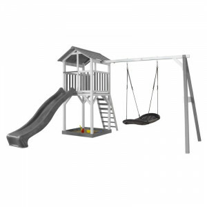 AXI Beach Tower Play Tower with Roxy Nest Swing Gray / White - Gray Slide