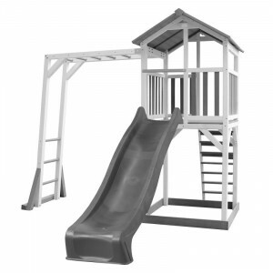 AXI Beach Tower Play Tower with Climbing Frame Gray / White - Gray Slide