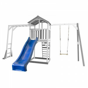 AXI Beach Tower Play Tower with Climbing Frame and Single Swing Gray / White - Blue Slide