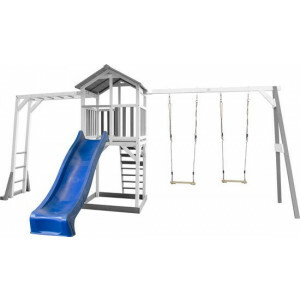 AXI Beach Tower Playtower with Climbing Frame and Double Swing Gray / white - Blue Slide