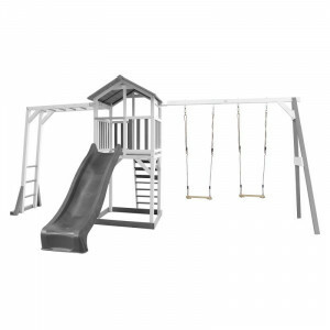 AXI Beach Tower Playtower with Climbing Frame and Double Swing Gray / White - Gray Slide