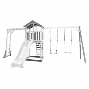 AXI Beach Tower Play tower with climbing frame and double swing Gray / white - White Slide