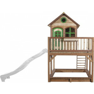 AXI Liam Playhouse Brown / Green - FSC - Sandpit incl. Cover - White Slide
