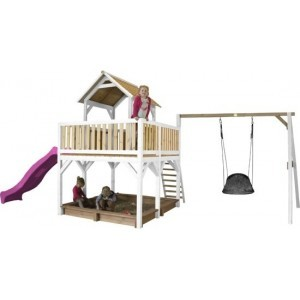 Axi Safari Atka Play Tower With Roxy Nest Swing Brown / White - Purple Slide