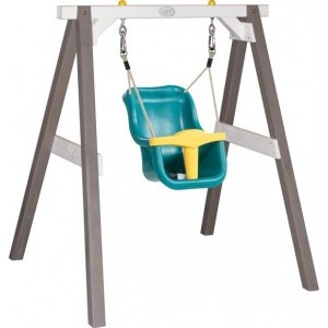 Baby Swing Gray / white with seat / FSC 100% Hemlock wood / 9 - 36 months / 5 year warranty! / Including 4 ground anchors - AXI (A030.301.01)