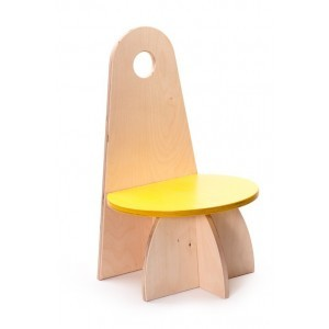 Wooden Designer Chair With Backrest Yellow - ADO Toys (ADO Toys-11)