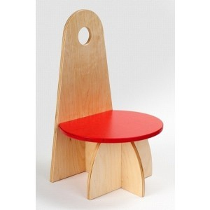 Wooden Designer Chair With Backrest Red - ADO Toys (ADO Toys-12)