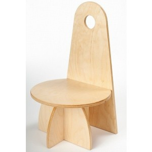 Wooden Designer Chair With Backrest Natural - ADO Toys (ADO Toys-8)