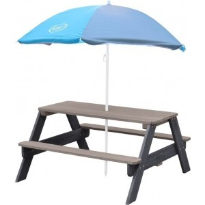 Axi Nick Picnic Table Anthracite / Gray - Parasol Blue / Gray