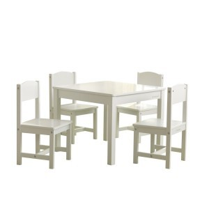 Farmhouse Table & 4 Chairs Set - White