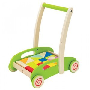 Wooden walker with blocks - Chariot - Hape (E0371)