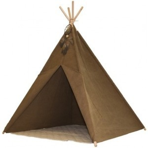 Indian Teepee Tent - Tipi tent with Rug and Dreamcatcher - Indian tent - Brown - FSC wooden posts - Sunny (C052.105.00)