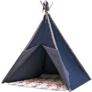 Nautic Teepee Tent with Rug and 2 Flags - Tipi Tent - Blue - FSC wooden posts - Sunny (C052.106.00)