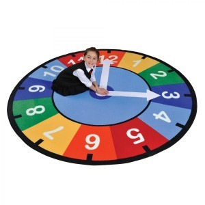 Rainbow Clock Learning Rug – Round - Liberty House Toys (CPR529)