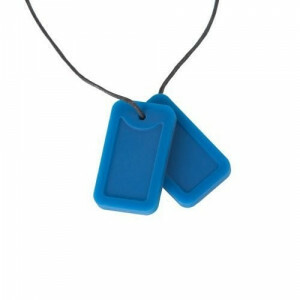 Chewigem Chewing Necklace – Blue Dog Tags