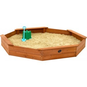 Large octagonal / octagonal wooden sandbox - Plum