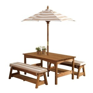 Wooden Children's Table and Bench Set with Cushions and Umbrella (brown with white stripes) - Kidkraft (00500)