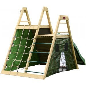 Wooden climbing pyramid with slide - Plum
