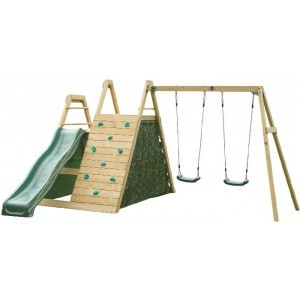 Wooden climbing pyramid with Swings and Slide - Plum