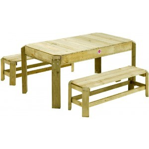 Wooden Picnic Activity Table with loose benches - Plum