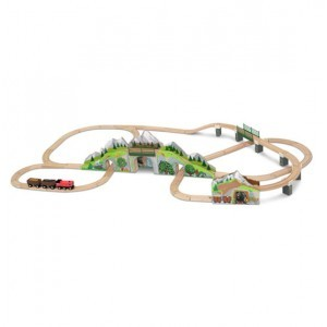 Wooden Train Set with Mountain Tunnel - Melissa & Doug (10611)