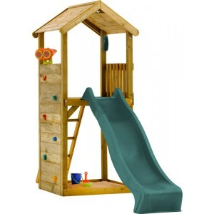 Wooden Watchtower with Slide - Plum