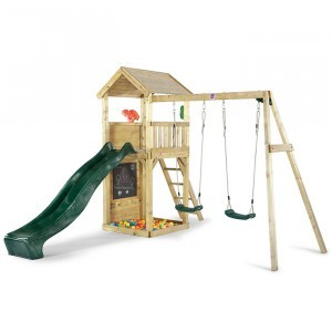 Wooden Watchtower with Slide and Swings - Plum