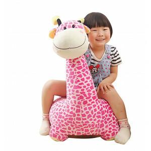 Plush Giraffe Sofa Riding Chair (Pink) - Liberty House Toys (HT70108)