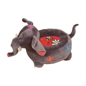Plush Elephant Sofa Riding Chair (Grey) - Liberty House Toys (HT70116)