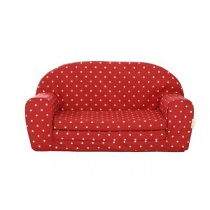 Gepetto Fold Out Mini Sofa Red with White Dots 05.07.04.03