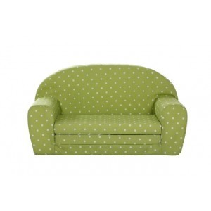 Gepetto Fold Out Mini Sofa Lime Green with White Dots 05.07.04.01