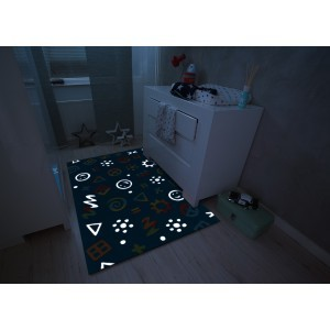 Children's Carpet Blue Icons  (110 x 160cm)