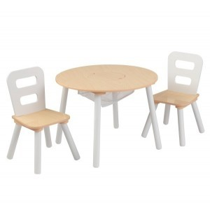 Children's Furniture Set with round storage table & 2 Chairs (white) - Kidkraft (27027)