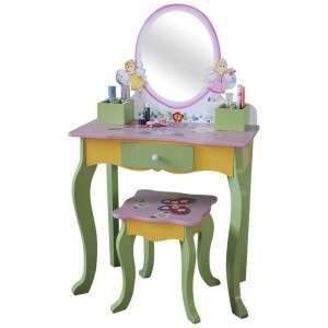 Fairy Dressing Table & Stool (Oval Mirror) - Liberty House Toys (LHT10094)