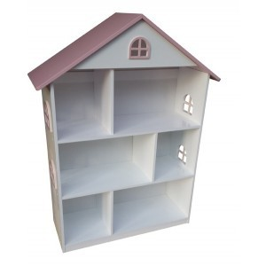 White Dollhouse Bookcase With Pink Roof - Liberty House Toys (LHT10101)